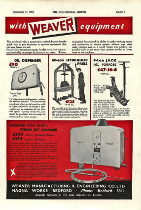 Weaver AD from England - Garage Equipment -1954