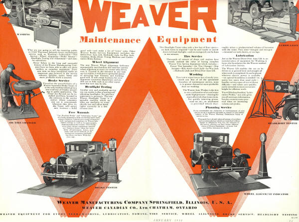 Weaver AD for Safety Lane Equipment in 1930