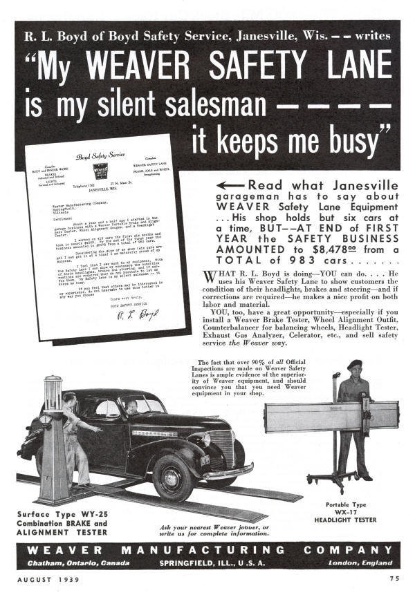 Weaver AD from 1939 Featuring WX-17 Headlight Tester and WY-25 Brake Tester