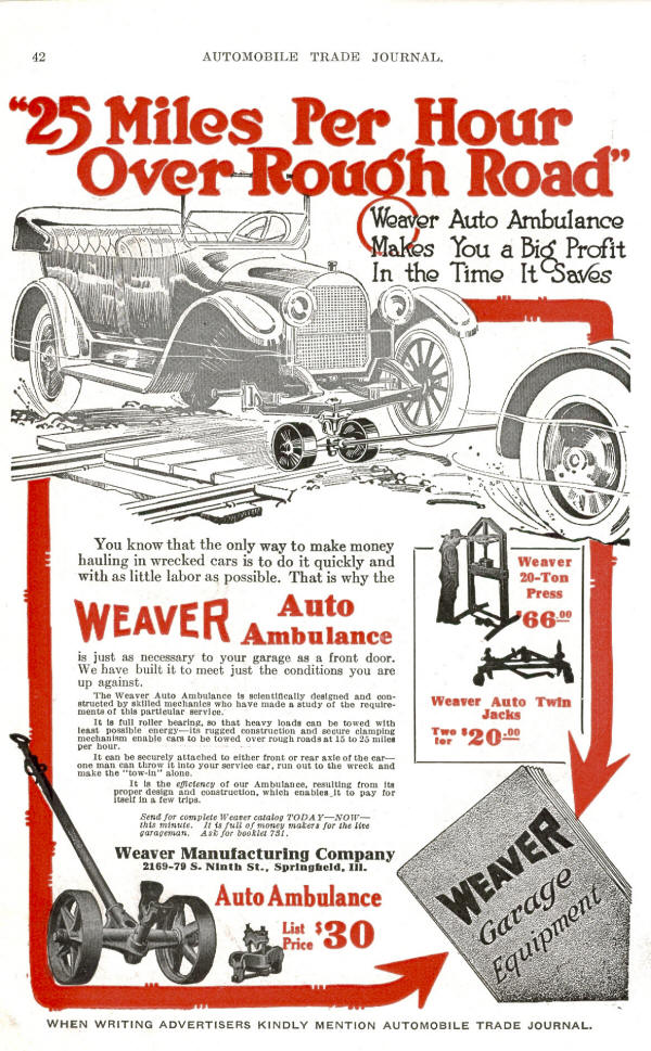 Weaver Auto Ambulance AD from 1918