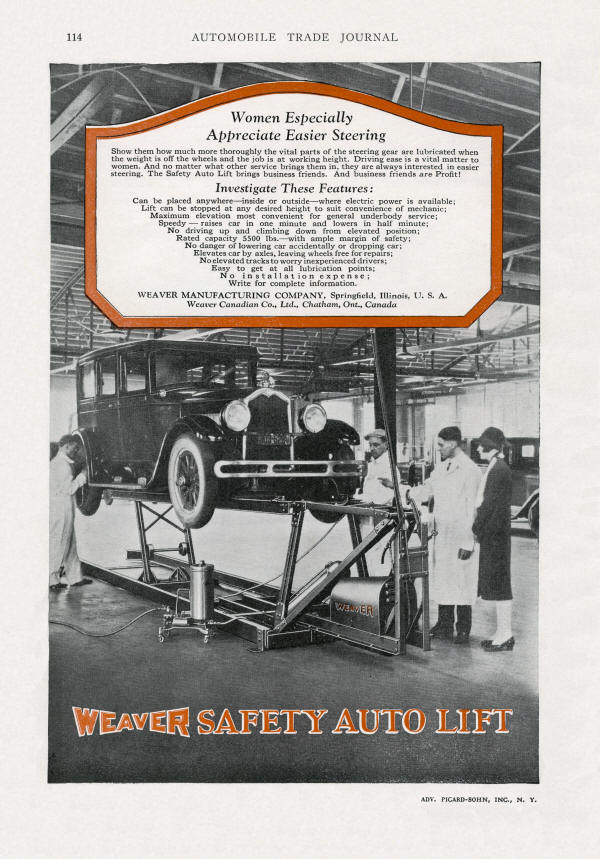 1927 Weaver Electric Automobile Lift AD