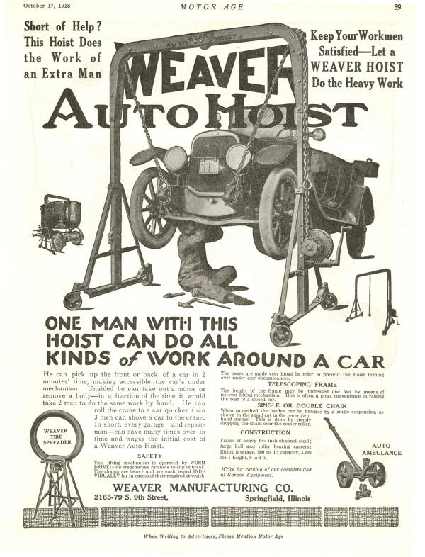 Weaver Auto Hoist Advertisement from 1918
