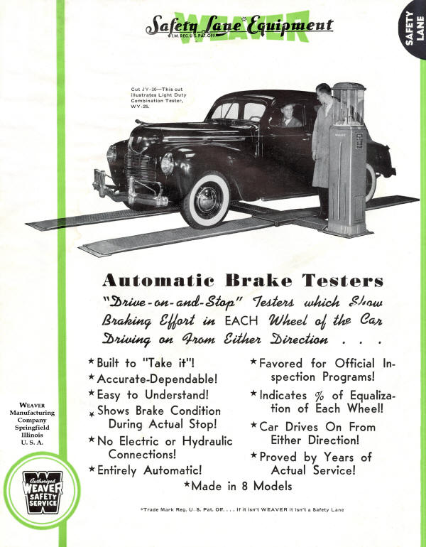 Weaver Flyer for 1952 model WY-25 Brake and Alignment Tester