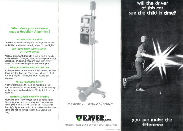 Weaver Brochure Headlight Tester 1981