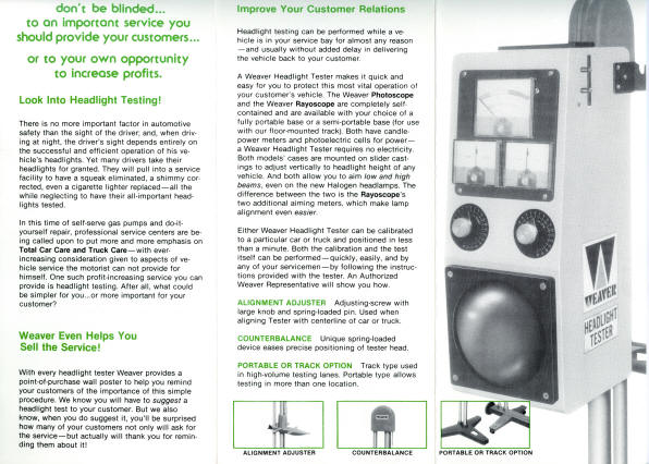 Weaver Brochure Headlight Tester1981