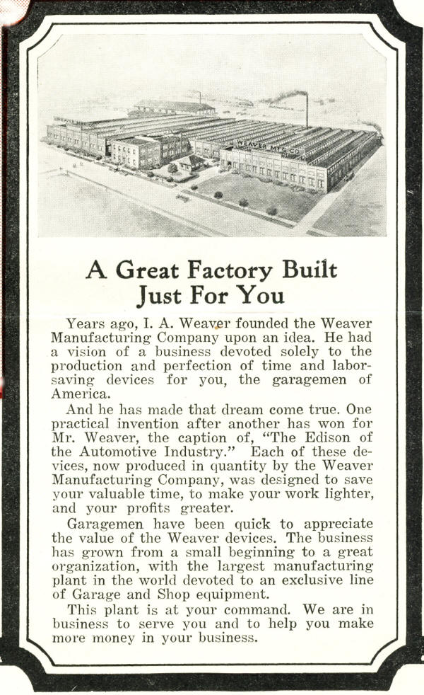 Weaver Factory AD from 1919