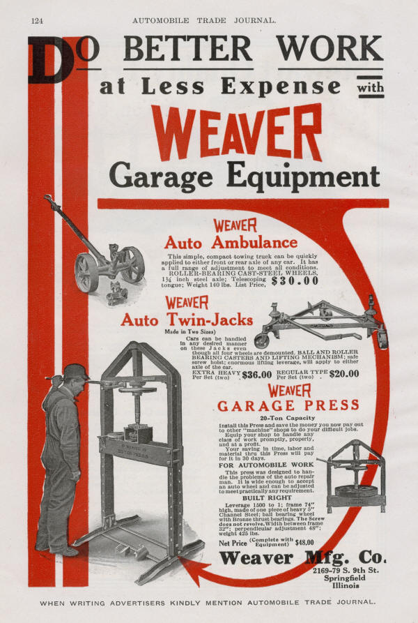 Weaver Garage Equipment Ad from 1915