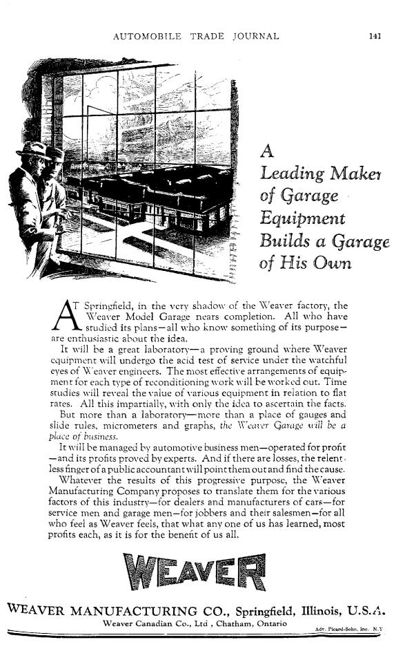 Weaver Model Garage and Laboratory - 1926 Automotive Trade Journal AD