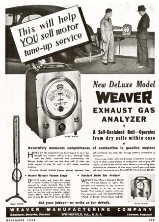 weaver Gas Exhaust Anylzer AD from 1938