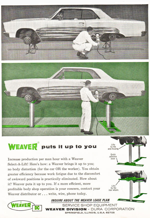 weaver  Automotive Lift AD from 1966