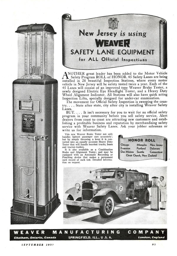 Weaver Safety Lane Advertisement from 1937