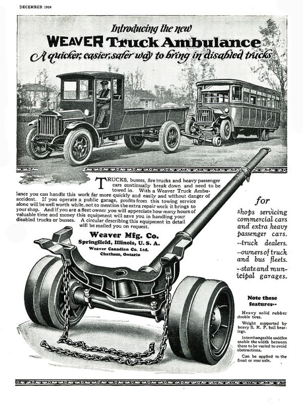 Weaver Ad for the Truck Ambulance in 1924