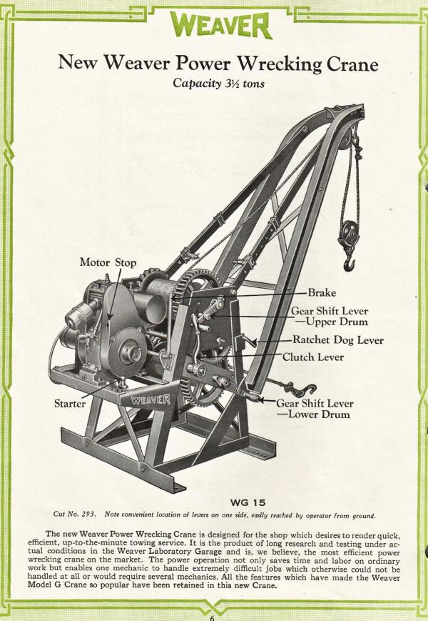 Castle equipment co weaver auto crane history for Garage ad agde