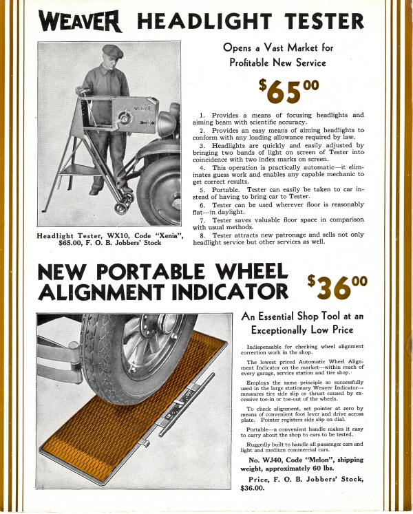 Weaver headlight and Alignment Tester Flyer from 1933